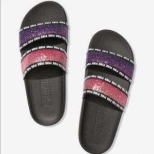(NWT) Pink VS Purple & Pink Double Strap Slides